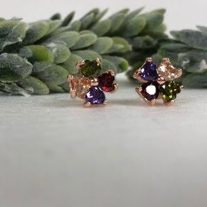 14k Gold Overlay Mixed Multi-color Stones